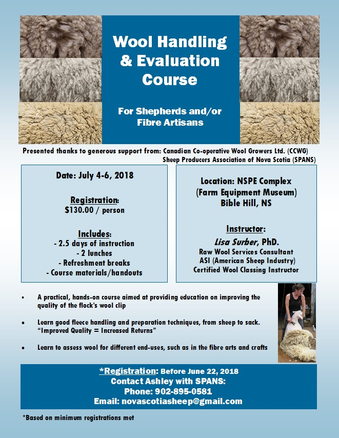 wool handling & evaluation course in NS
