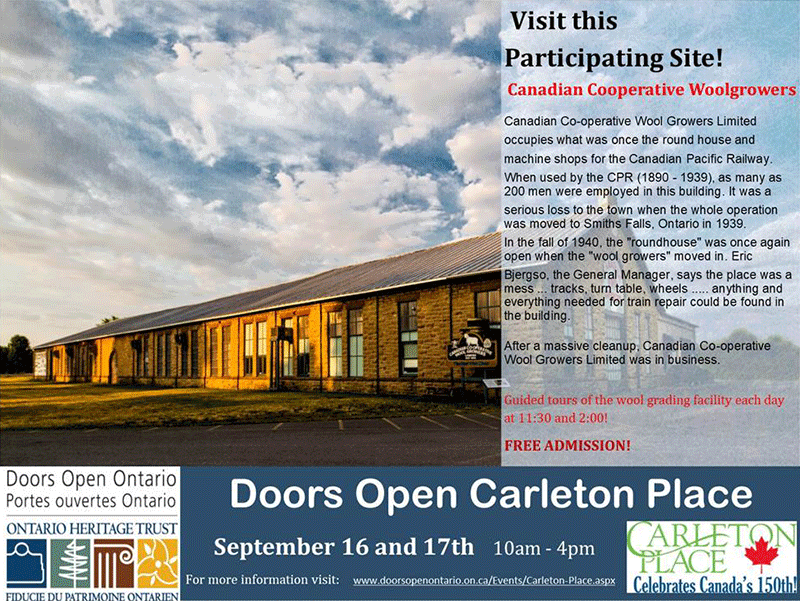 Doors Open Carleton Place, ON at CCWG