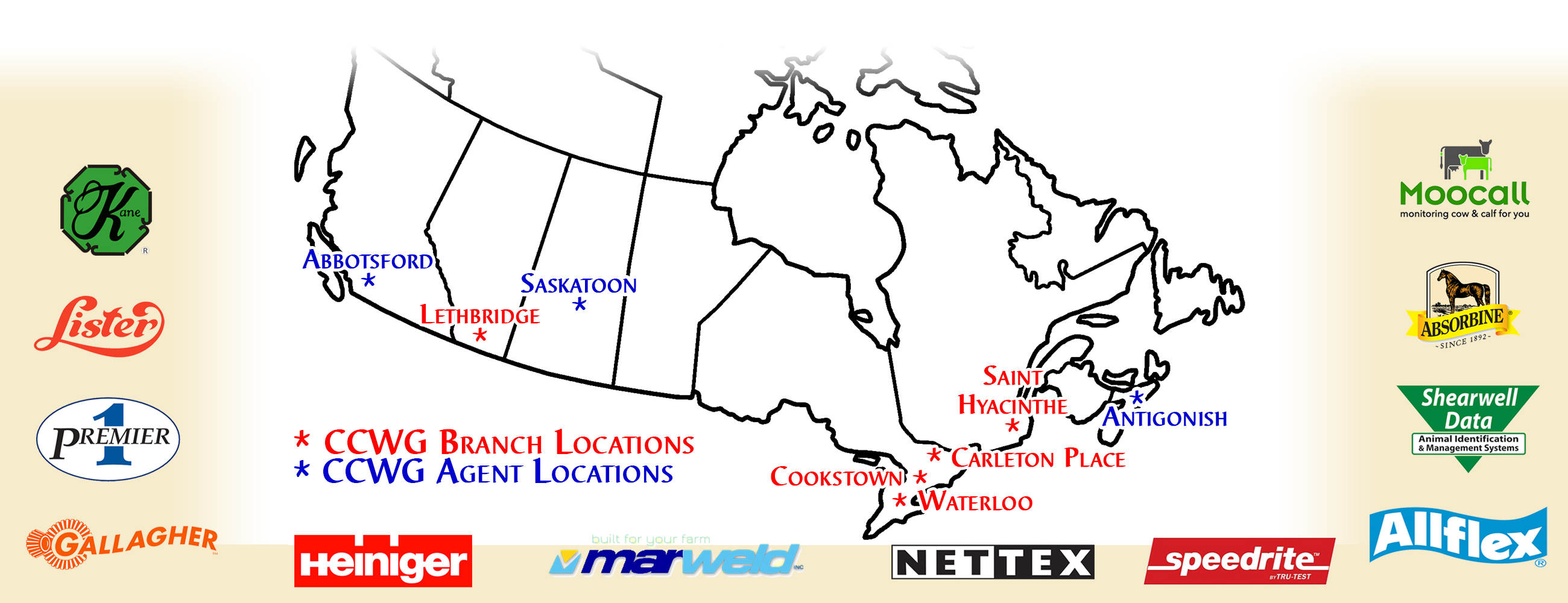 Map of Livestock Supply retail locations across Canada